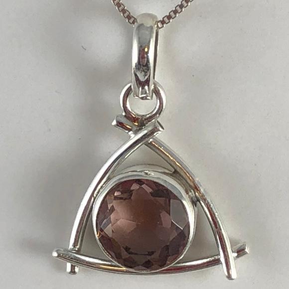Gem Emporium Jewelry - 10MM Round Faceted Pink Amethyst 925 Silver